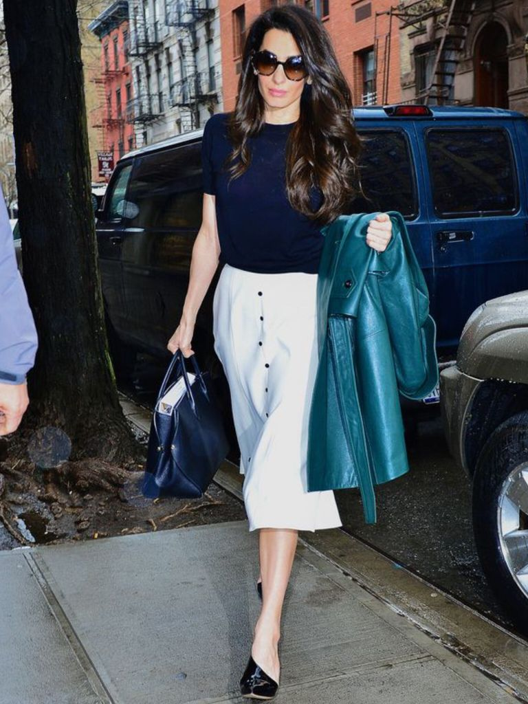 0e478aa44e Amal Clooney green leather trench coat from the Fall 2018 MICHAEL KORS With  PETAR PETROV Siri patent-leather slingbacks pumps $730 Available here with  ...