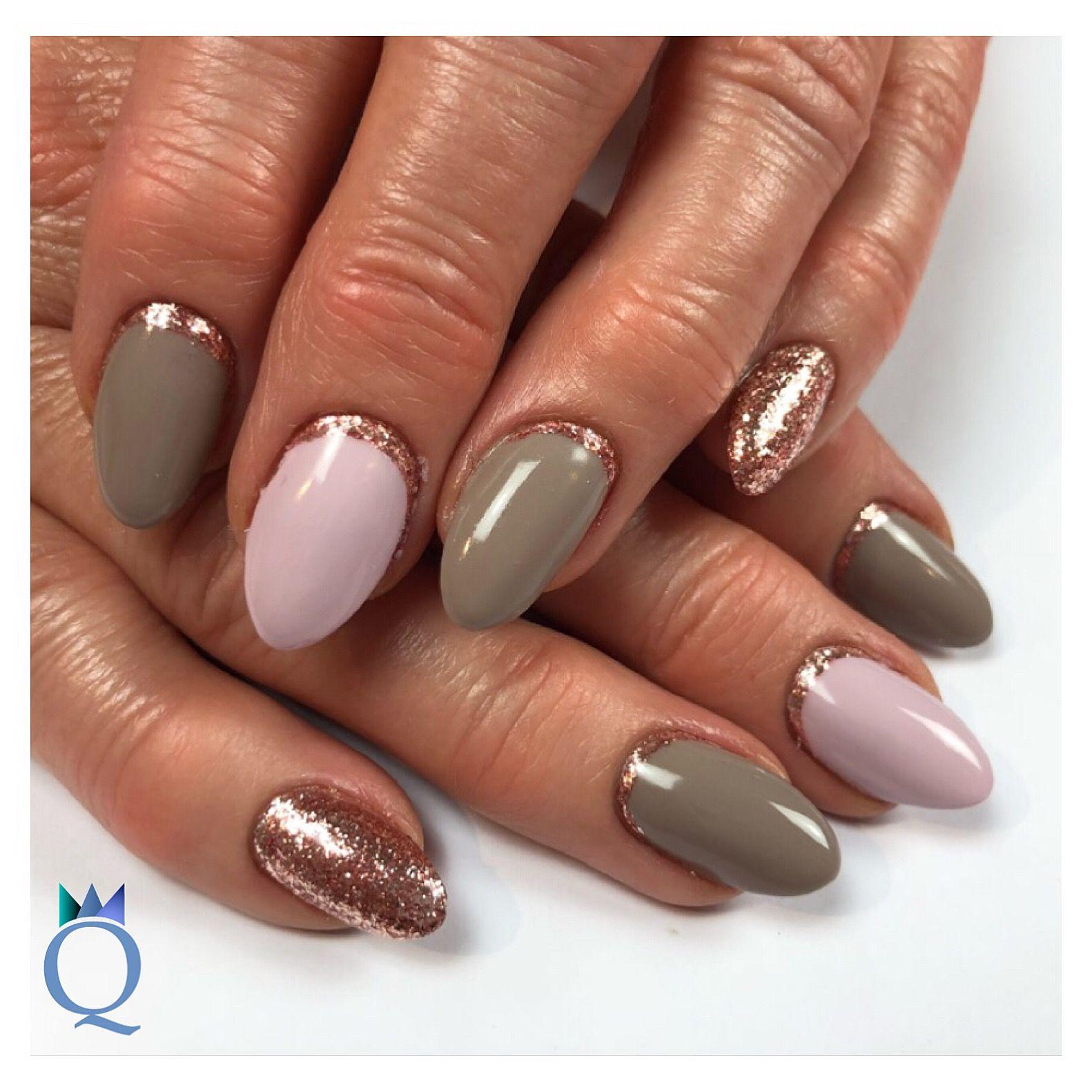 almondnails #gelnails #nails #pink #taupe #rosegold #mandelform ...