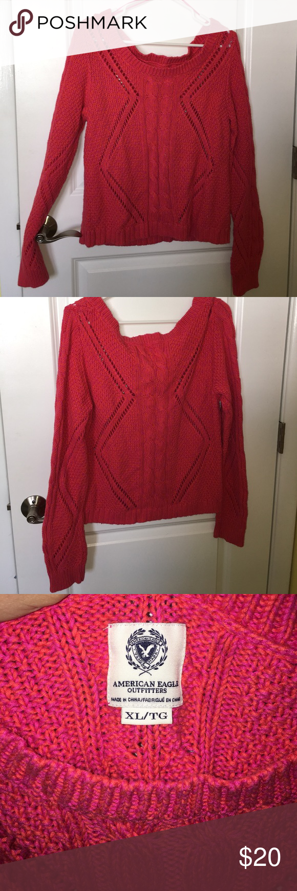 American eagle off the shoulder sweater Orange and pink knit, off ...