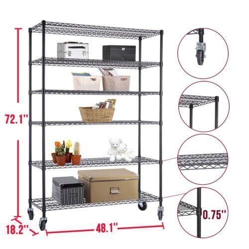 72″x48″x18″ Heavy Duty 6 Tier Layer Wire Shelving Rack Steel Shelf Adjustable