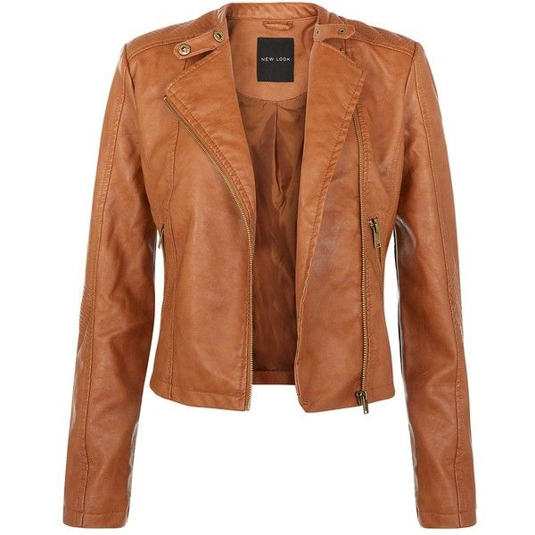 Tan Leather Look Biker Jacket 53 Liked On Polyvore Featuring Outerwear Jackets Leather Jackets Women Tan Leather Jackets Faux Leather Motorcycle Jacket
