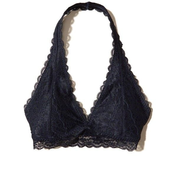 Hollister Lace Halter Bralette With Removable Pads (€16) ❤ liked on Polyvore featuring intimates, bras, tops, navy lace, halter top, bralette bras, navy bra, navy blue bra and lace bralette bra