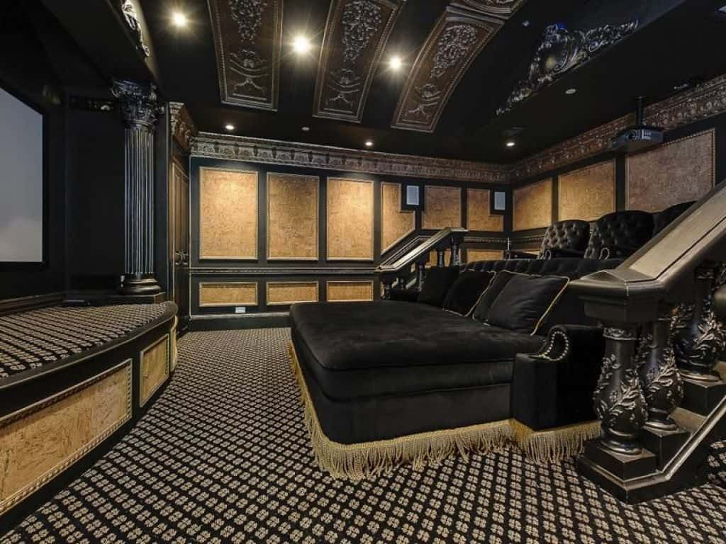 Art Deco Home Theater With Carpet Types Of Home Theater Carpet