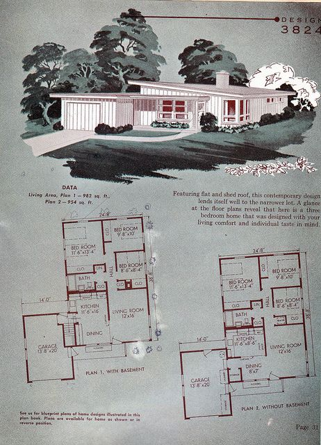 Nps 1955 Vintage House Plans Sims House Plans Mid Century Modern House
