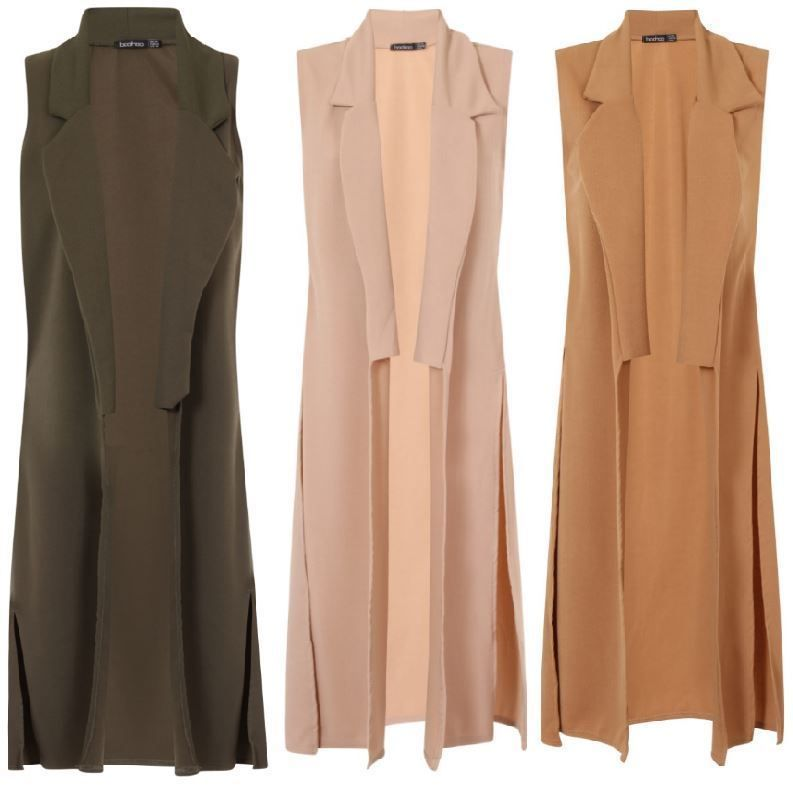 Womens Sleeveless Ankle Long Duster Coat Waistcoat Ladies Blazer BOOHOO  Jacket 3f2e527b7