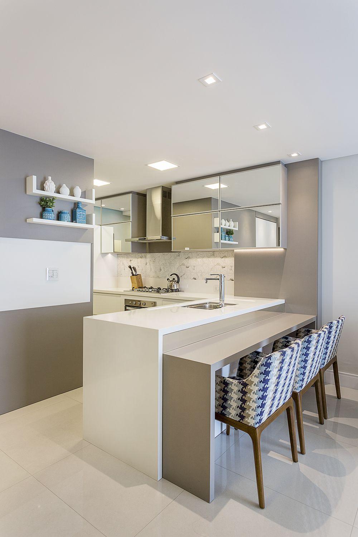 Ideia Cozinha Pequena Branca Com Espelhos Apartamento Cv