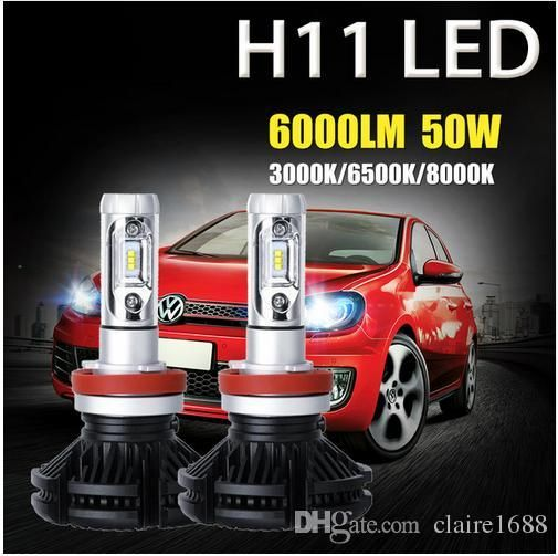 2pcs H11 50w Pair 6000lm Car Led Headlight Bulb Cree Csp Chip 3000k 6500k 8000k Drl Auto Led Headlamp Fo Led Headlights Cars Led Headlights Car Headlight Bulbs