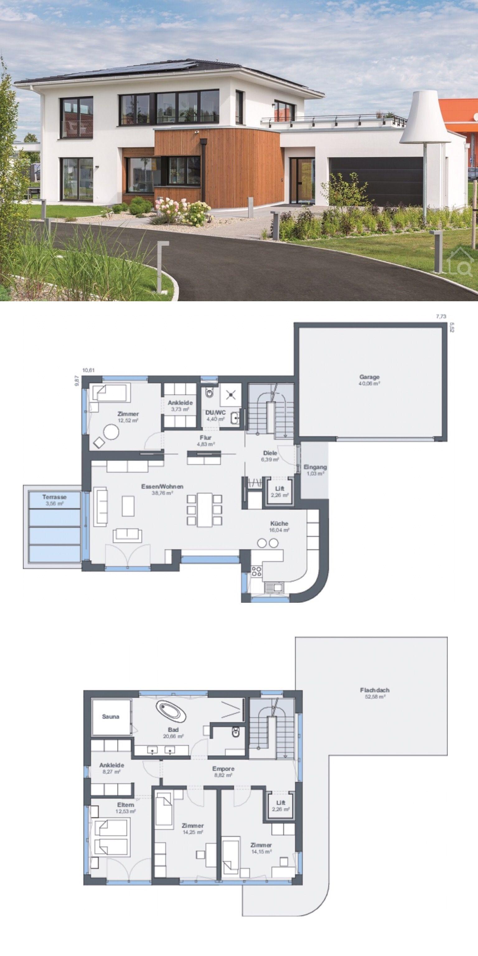 Stadtvilla Haus Design modern Grundriss mit Garage