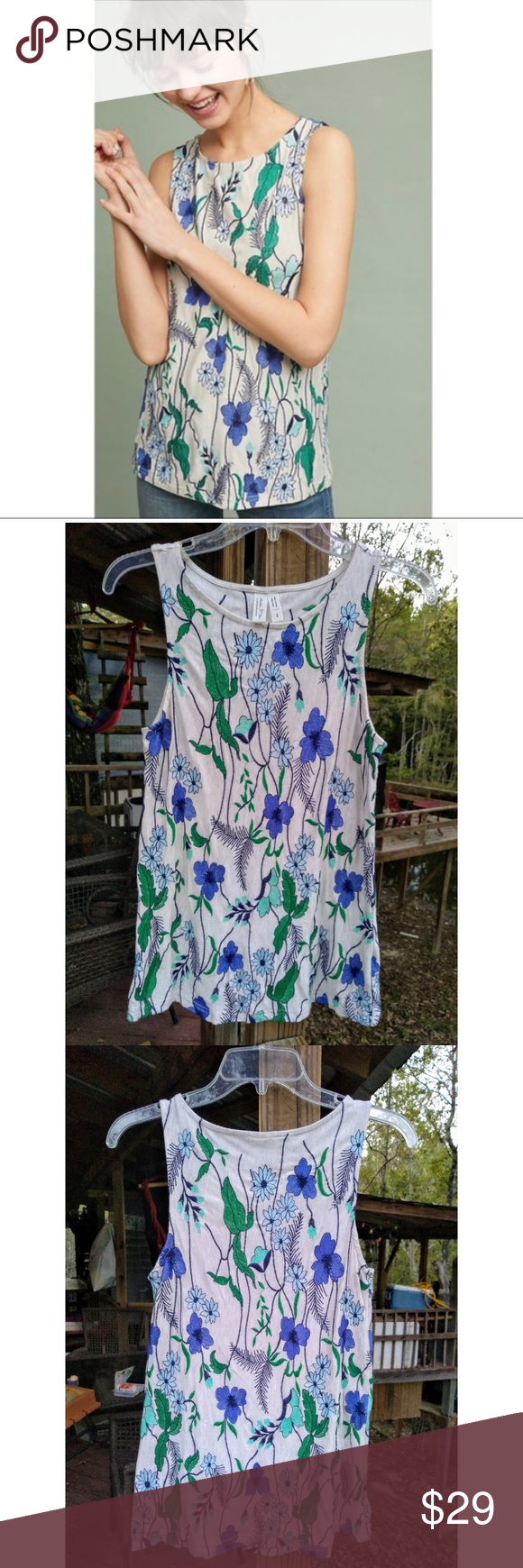 Anthro Meadow Rue Cartagena Embroidered Tank Top Very Good