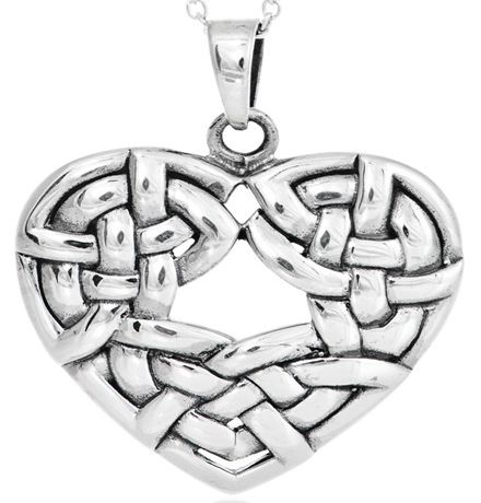 Sterling Silver Celtic Heart Knot Necklace, Special Price: £21.75