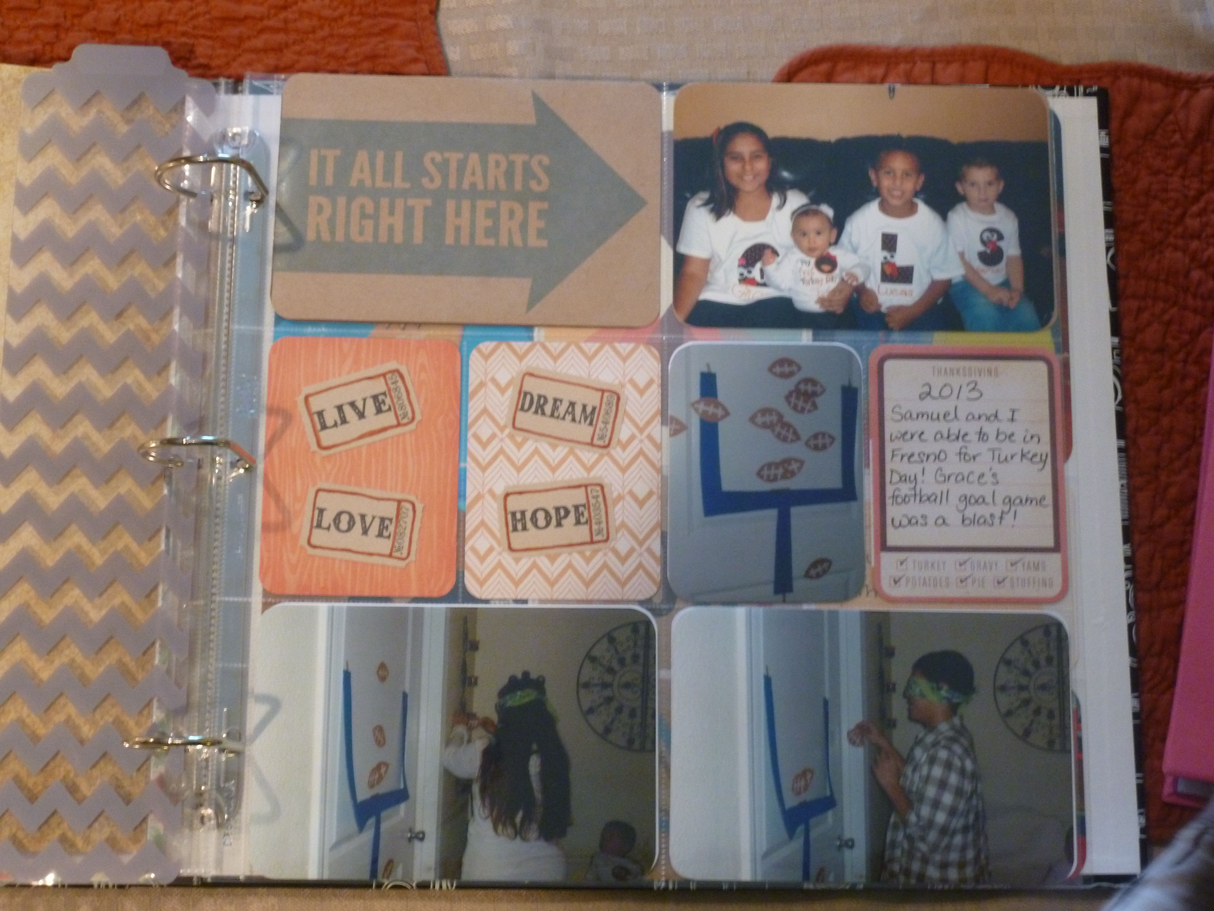 Page 1 I bought the Project Life (by Becky Higgins) pens, the Kraft Core Kit (designed by Tiffani Smith) dusted off my trusty corner rounder and printed some pictures!  Nice and easy!
