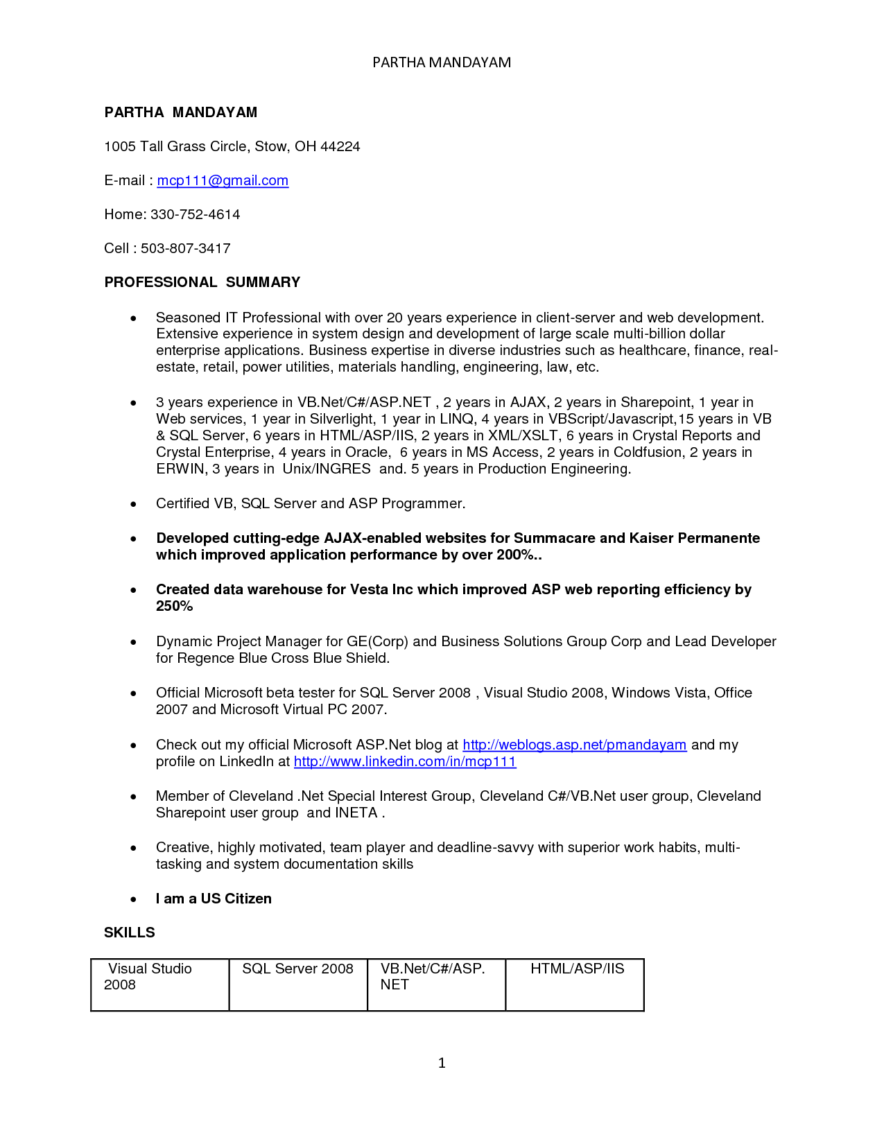 Resume Format For 1 Year Experienced Java Developer | Resume Format ...