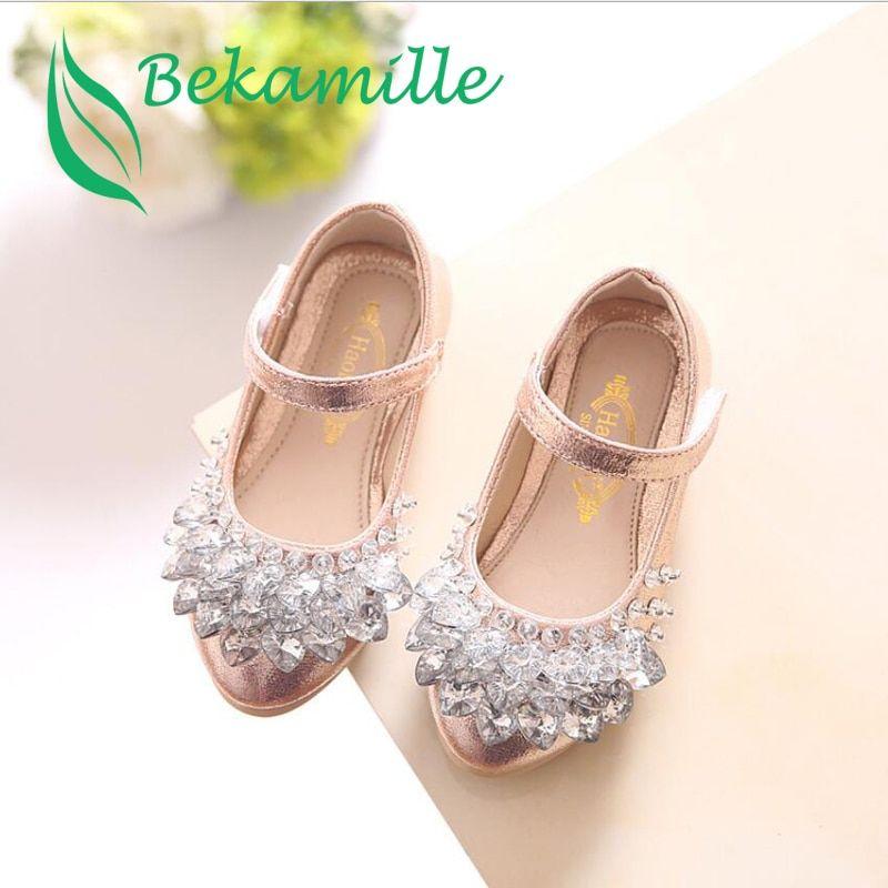6e906db76c03d Bekamille Children Rhinestone Glitter Kids Girls leather Shoes Princess  Girls Sandals Toddler Big Girls Wedding Party Shoes