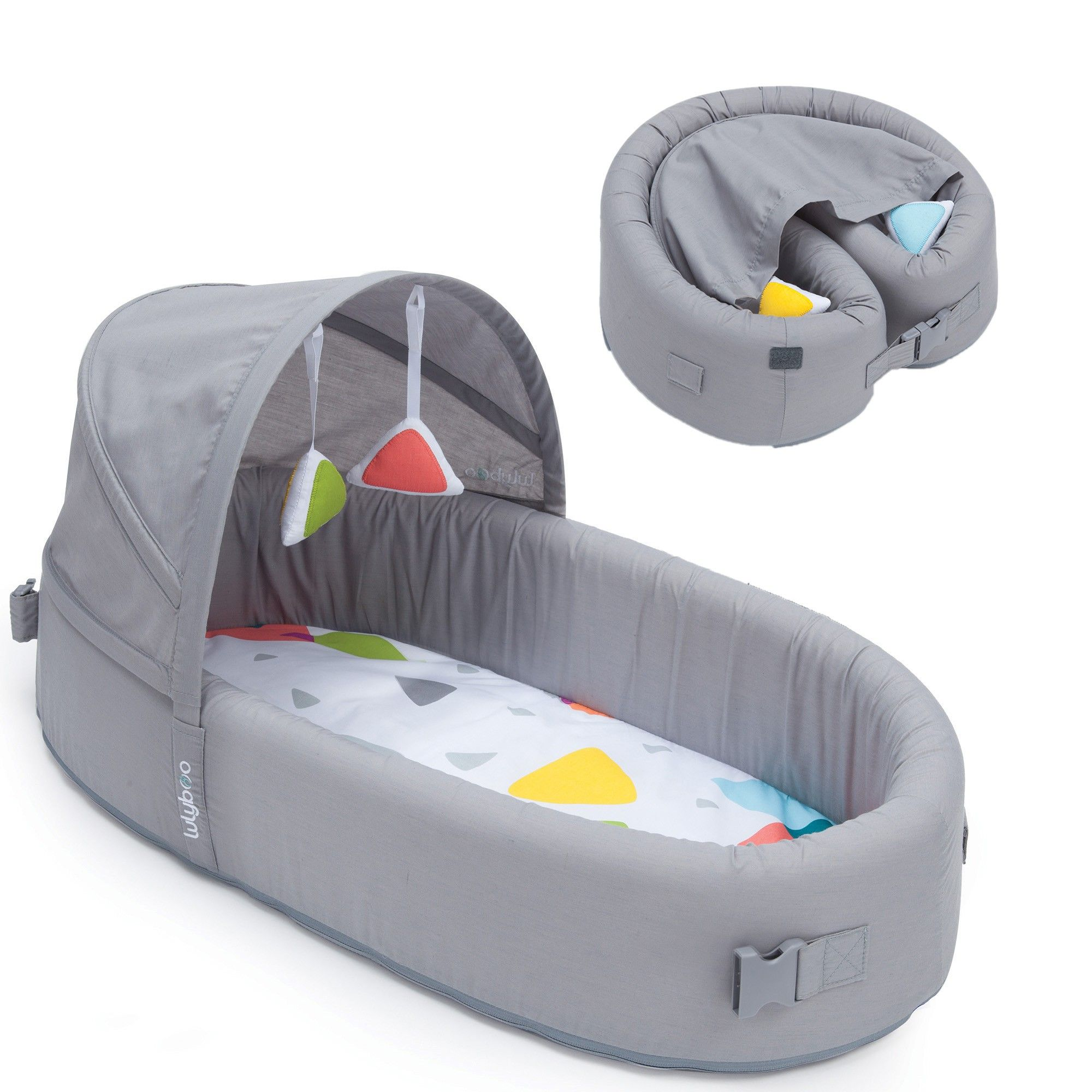 Lulyboo Baby Lounge Gray Baby Travel Bed Portable