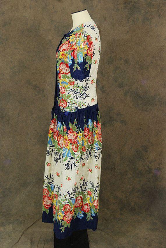 vintage 30s Maxi Dress 1930s Floral Cotton Dressing Gown | Border ...
