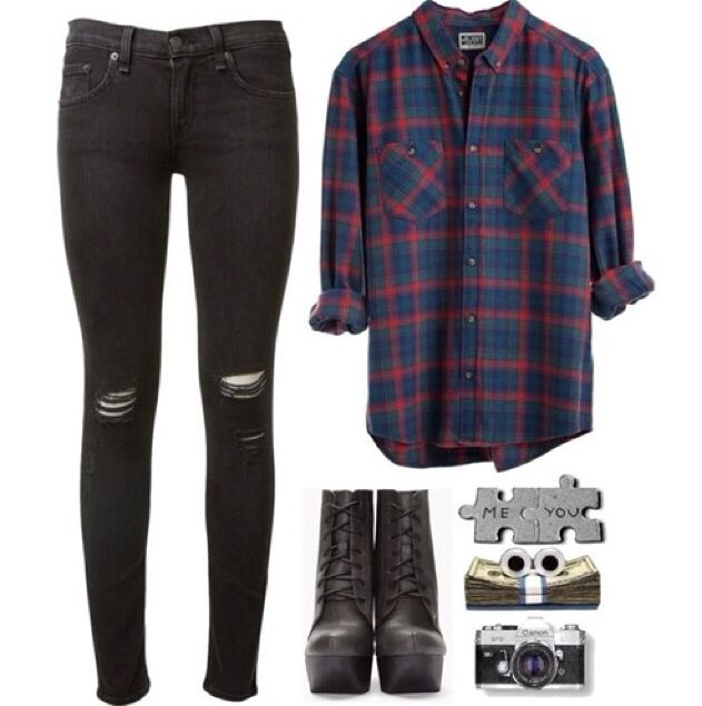 Plaid, black ripped jeans outfit