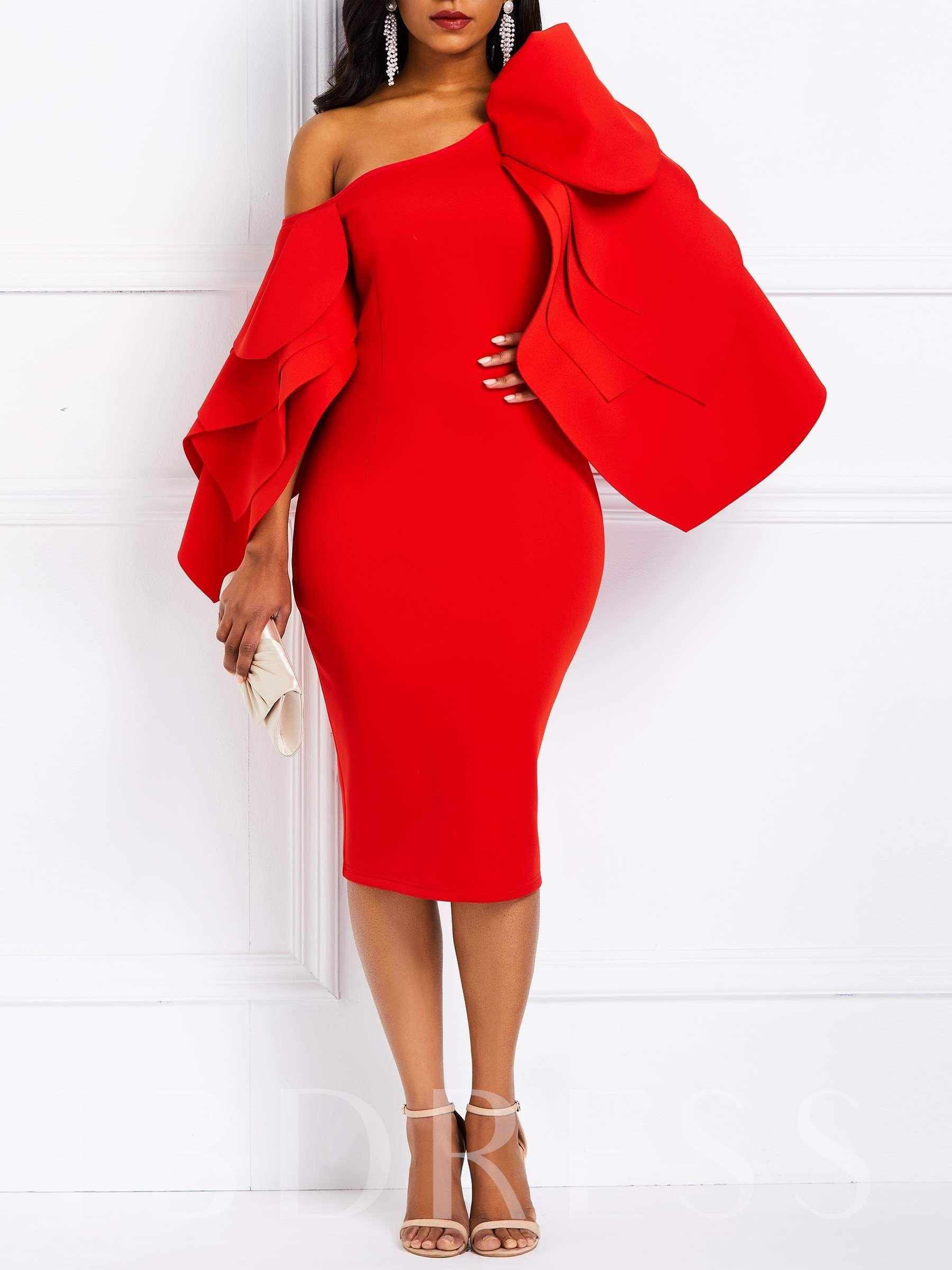 Falbala Oblique Collar Long Sleeve Elegant Women S Party Dress Red Bodycon Dress Womens Sheath Dress Bodycon Dress With Sleeves [ 2400 x 1800 Pixel ]