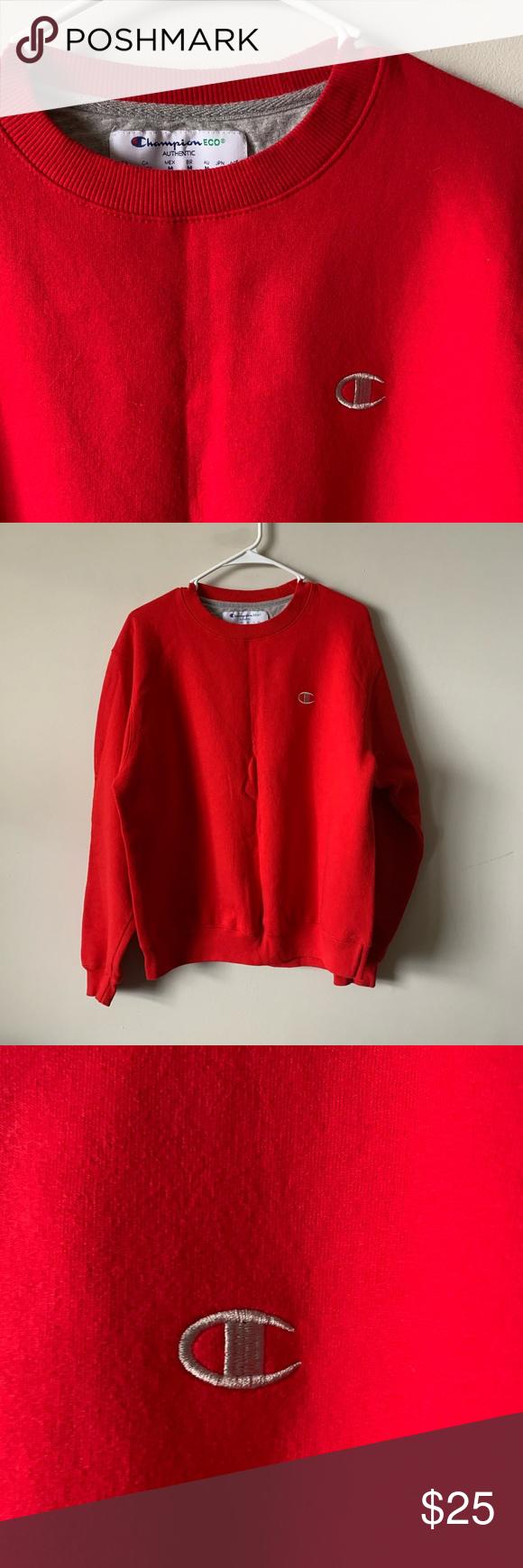 Vintage 90s Red Champion Eco Crewneck Sweatshirt Crew Neck Sweatshirt Sweatshirts Sweatshirt Shirt [ 1740 x 580 Pixel ]