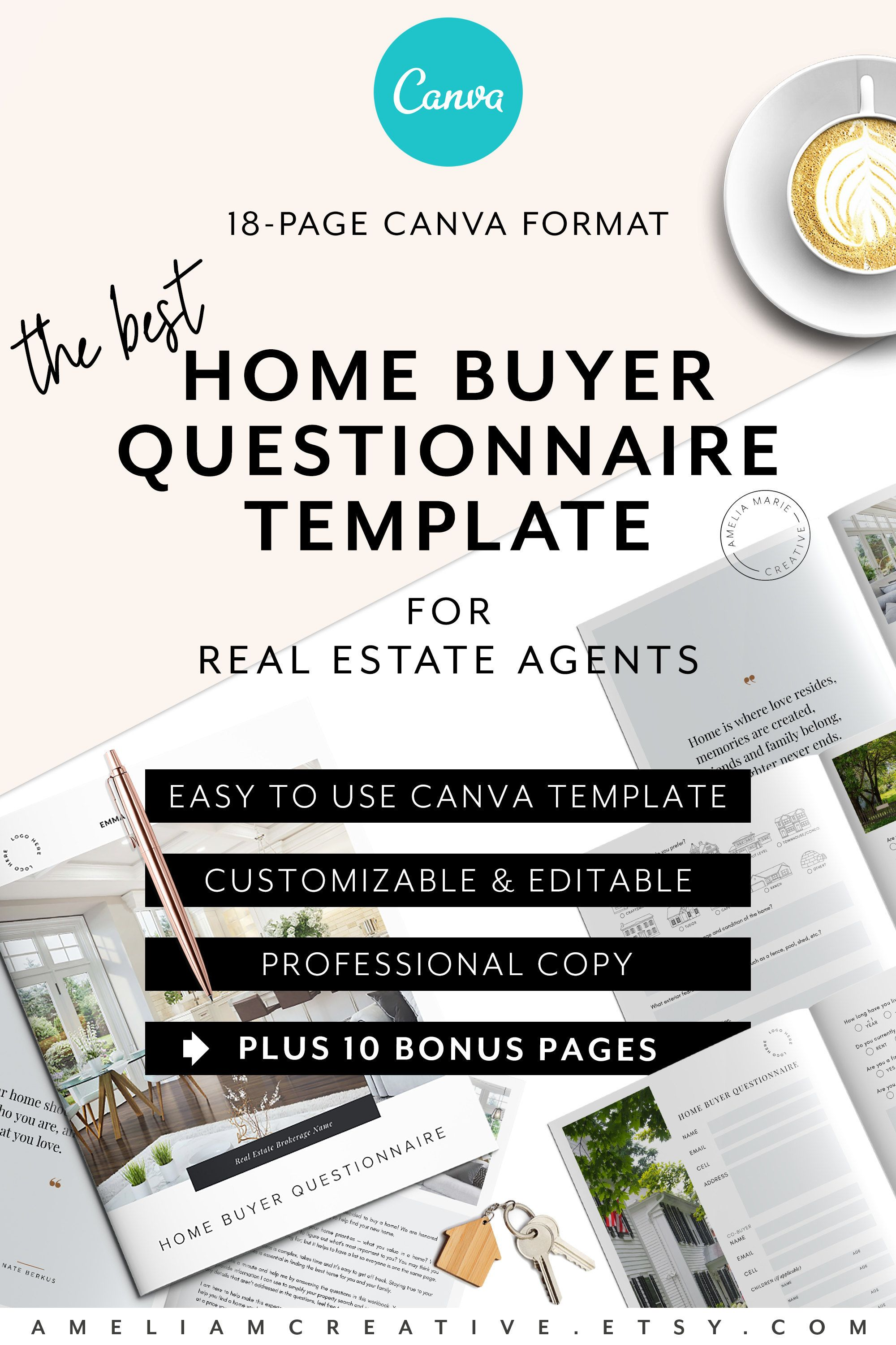 Home Buyer Questionnaire CANVA Template for Realtors®