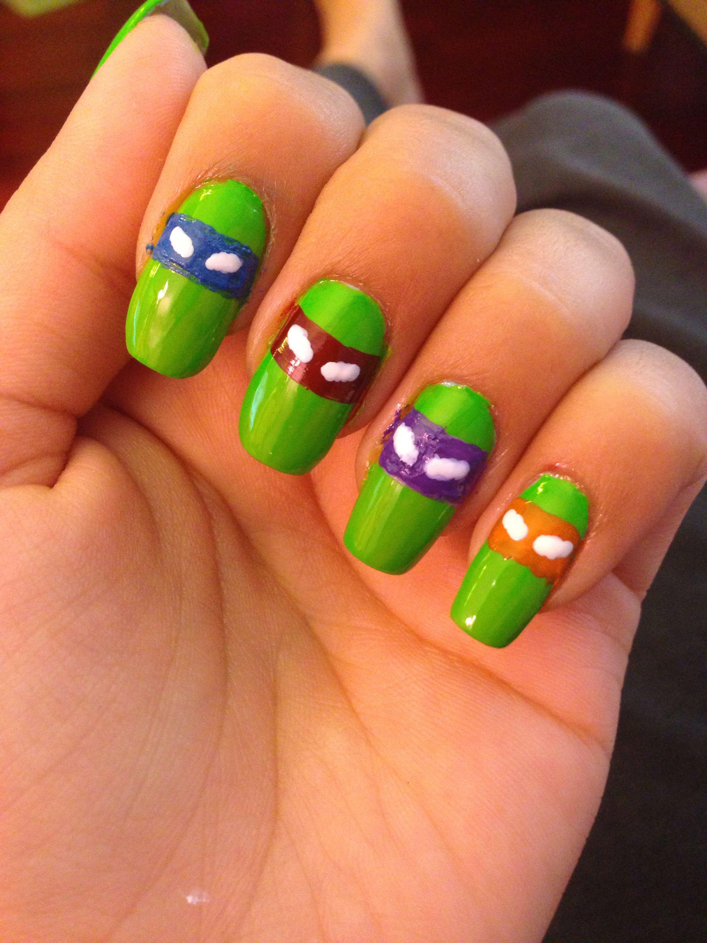 Ninja turtle nails!!!! Whaaaa!! It was surprisingly easy to do ...