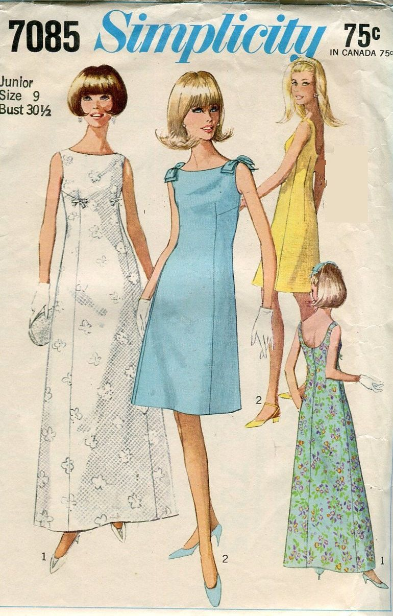 1960s Simplicity 7085 Sleeveless Formal Dress Vintage Sewing Pattern ...