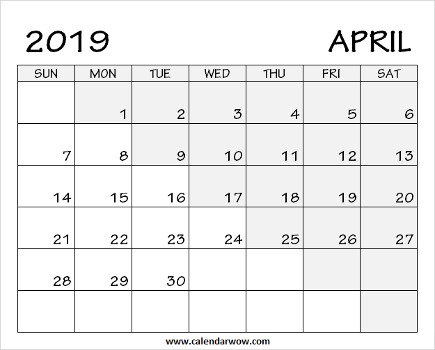 Printable Blank April 2019 Calendar Download Free Calendar Template