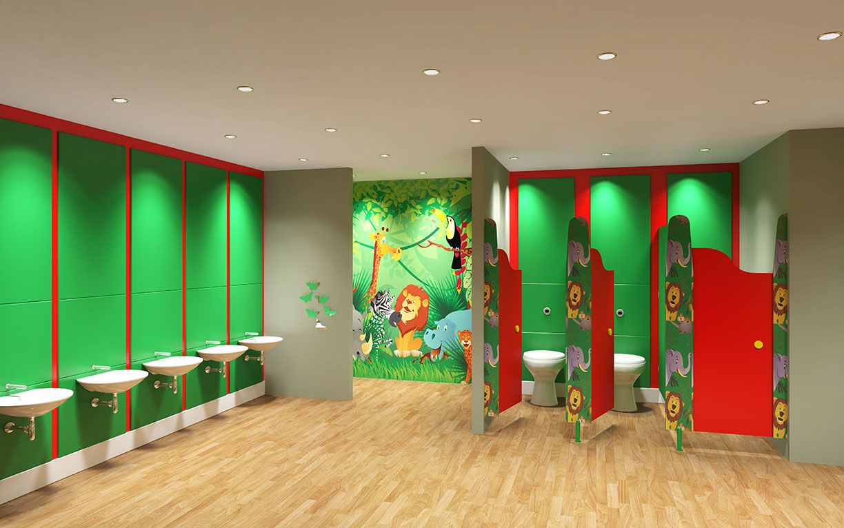 Junior school toilet design fun bright approachable and for Washroom ideas