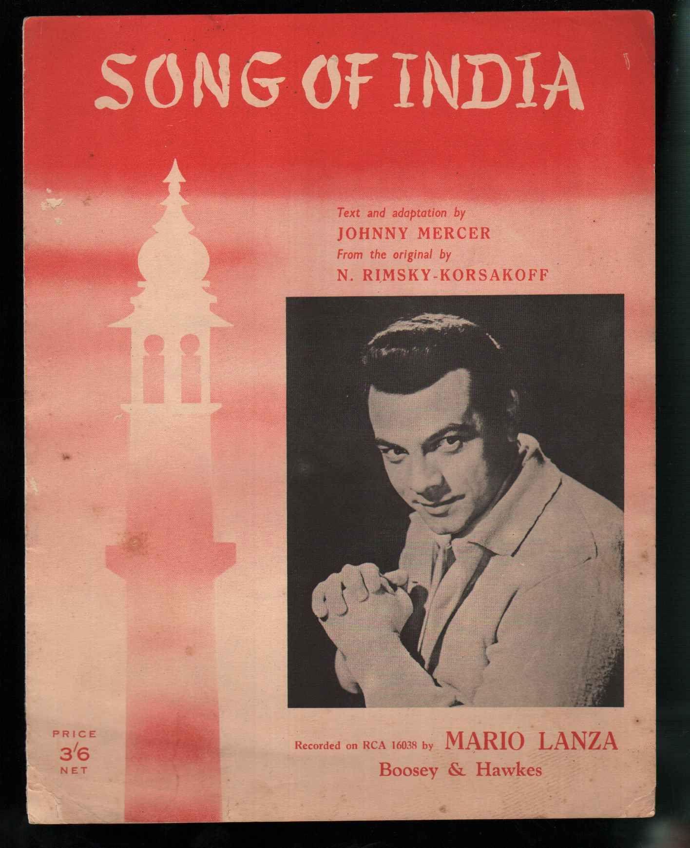 Mario Lanza Sheet Music Song Of India 1953 Johnny Mercer Music