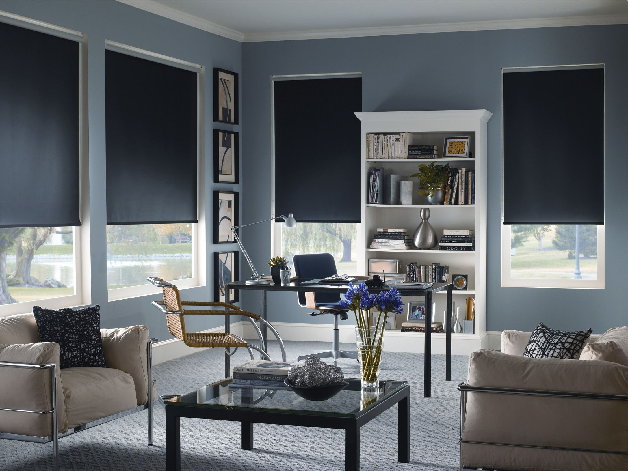 Modern Home Office With Blackout Roller Shades Curtains With