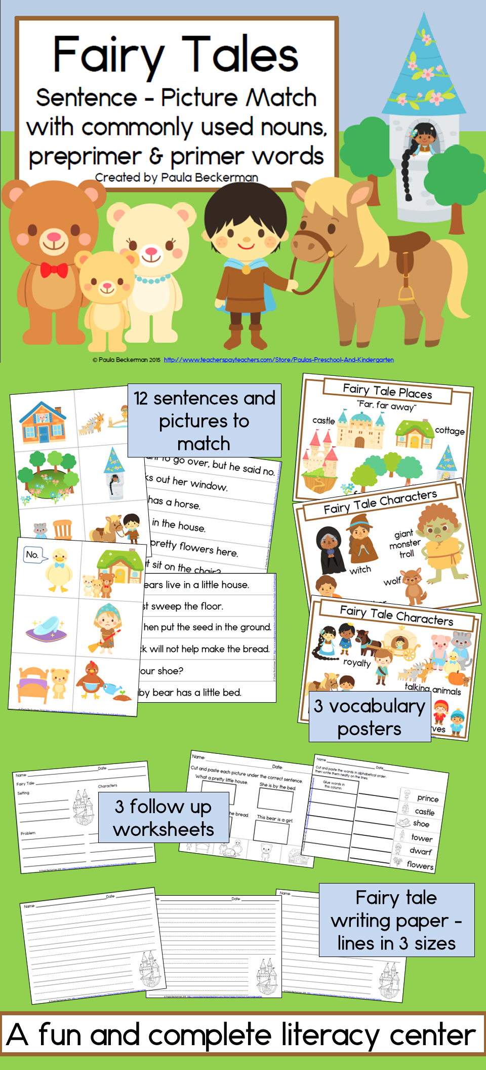 Fairy Tales Sentence Picture Match Reading Center Kindergarten And