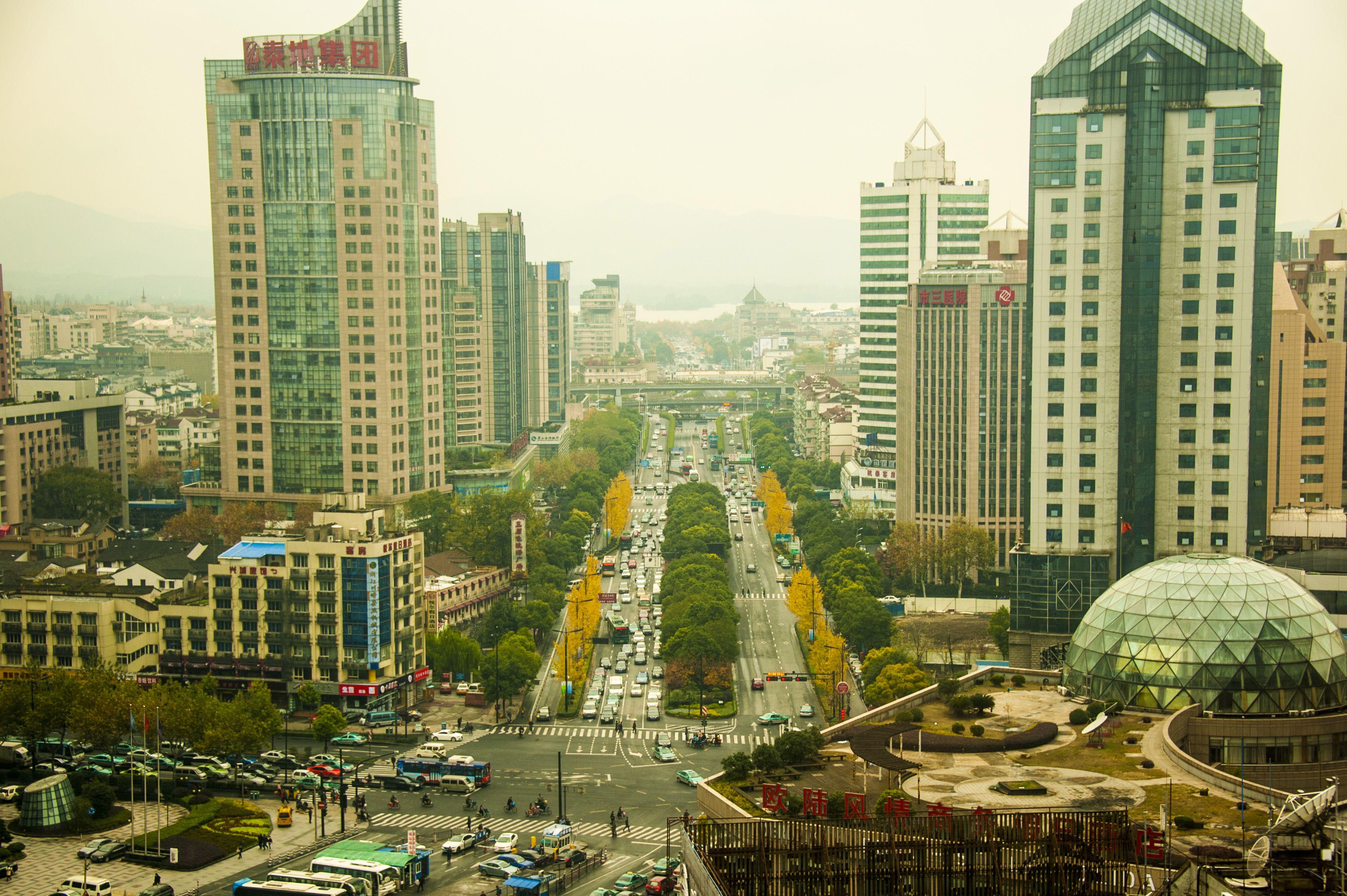 Central Hangzhou looking toward West Lake. Taken Dec 2012.