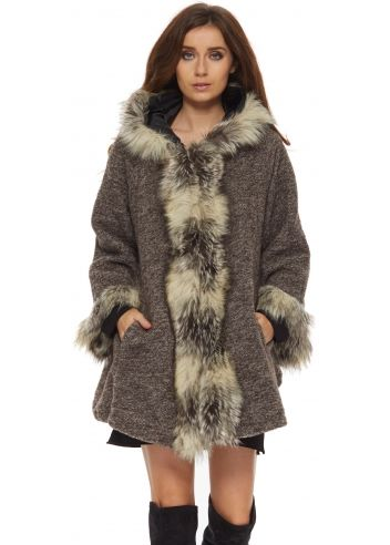 Pin by Susana Barroso on Fashion | Brown faux fur coat, Grey