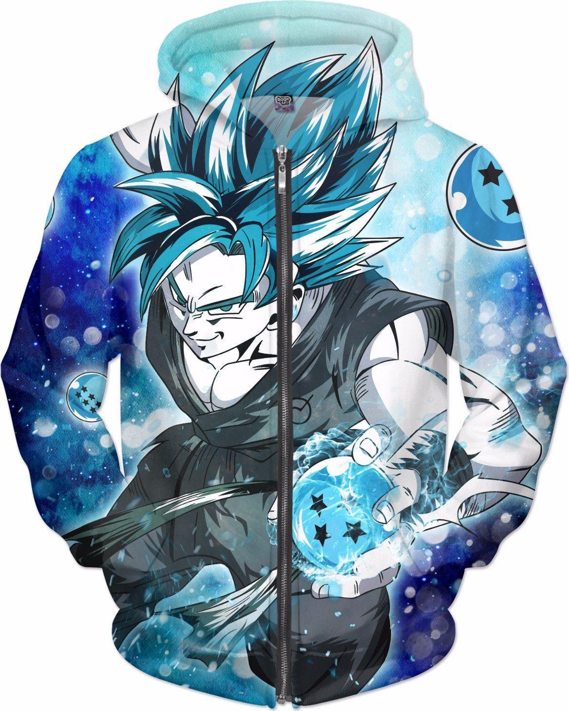 adb22ab1 Super Saiyan - Goku SSj Blue with dragon balls - All Over Print Zip Hoodie  - RO01174ZH