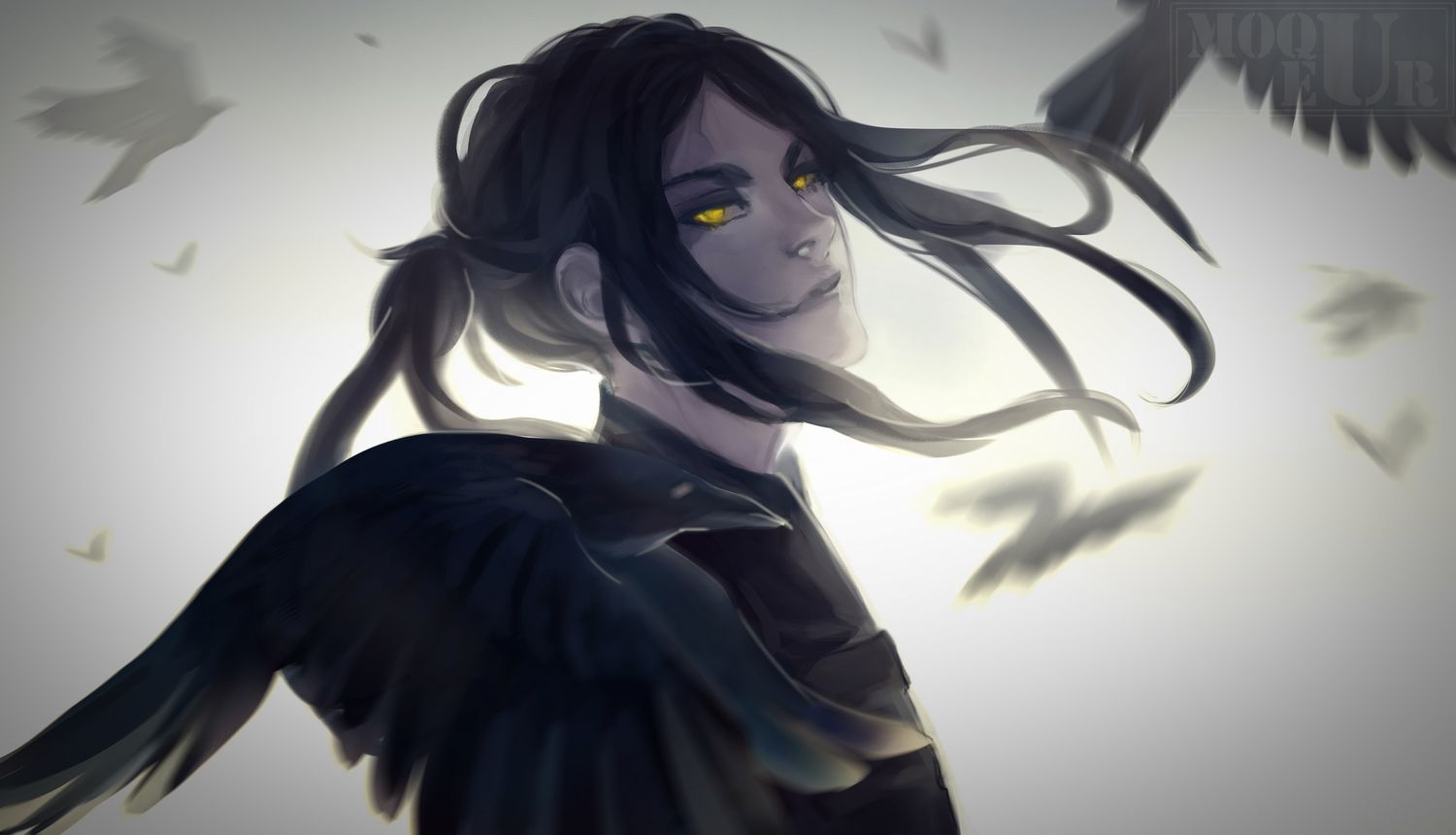 All Male Animal Bird Black Hair Long Hair Male Original Ponytail Tagme Artist Watermark Yellow Eyes Black Hair Anime Guy Guys With Black Hair Anime Boy