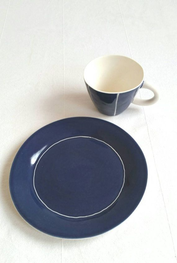 Coffee Cup And Small Plate Set In Porcelain Modern Scandinavian Style Ceramics Sandwich Salad Or Dessert Plate In Dark Danish Blue