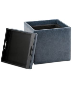 Pendon Cube Storage Ottoman With Tray, Quick Ship   Blue
