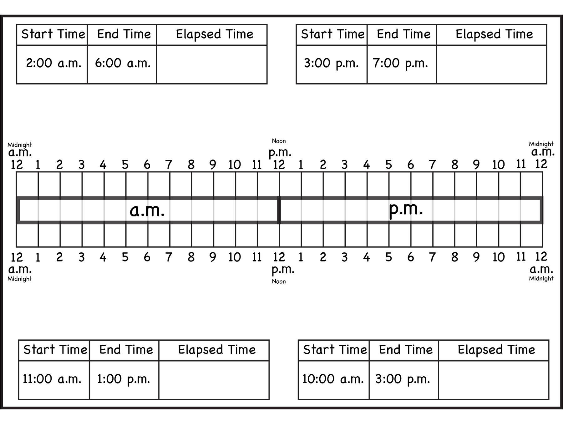 Elapsed Time Ruler to Print | Activity Shelter