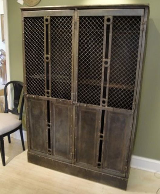 French Vintage industrial steel cabinet