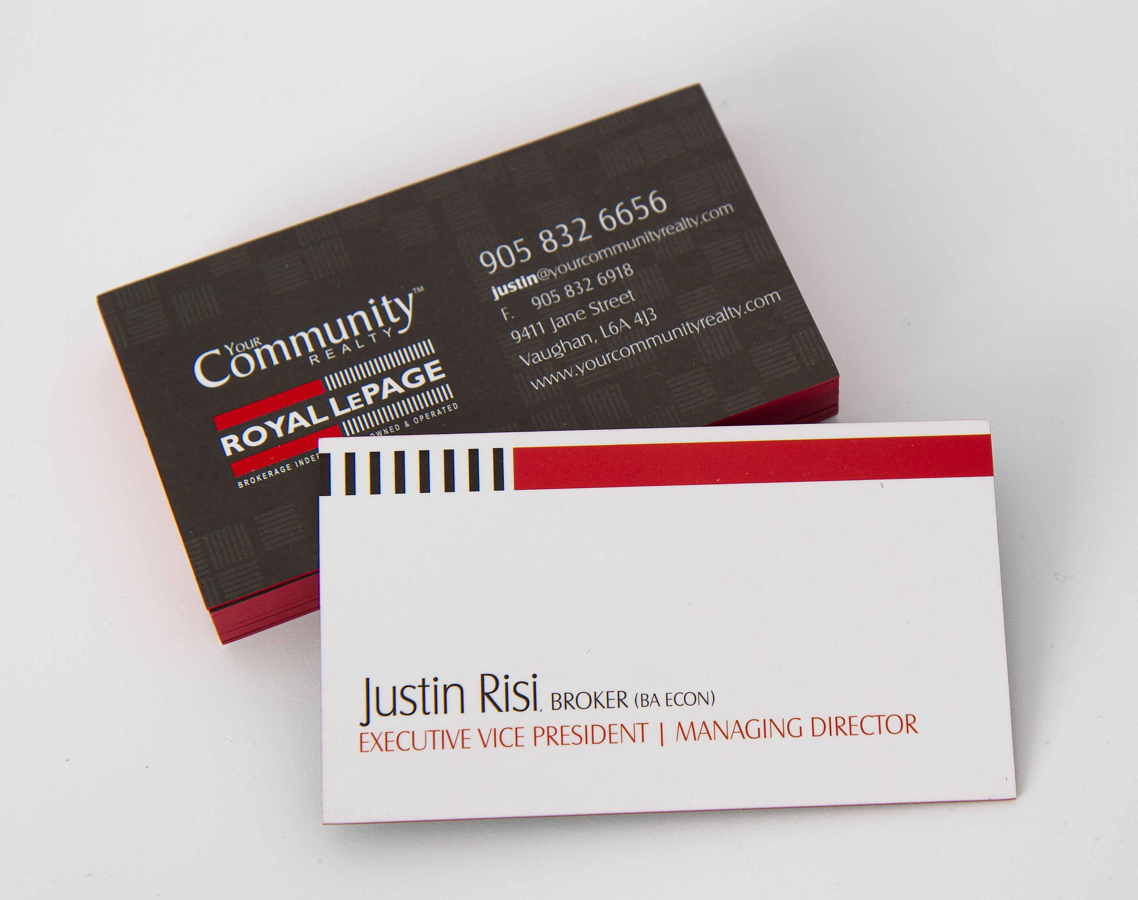 royal lepage business card with red colour edging