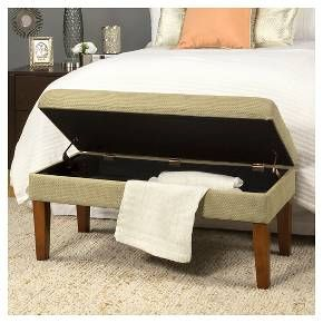 Decorative Storage Bench Tan with Gold Chenille Tweed - HomePop : Target