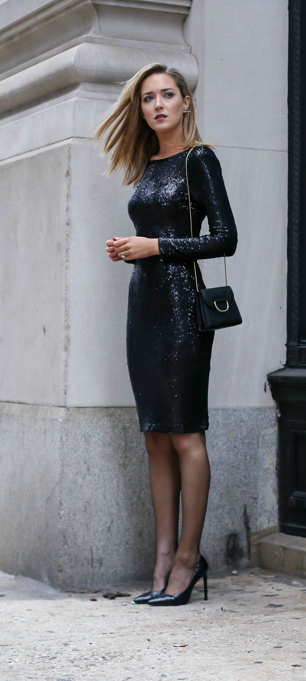 Bodycon dress with stockings