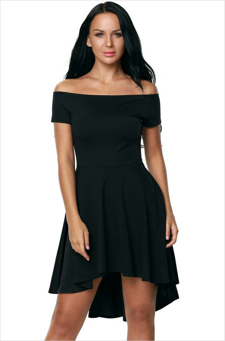 bd87a5f0d4c3 Women's #black short sleeve mini #dress, Off-the-shoulder neckline, High  low, Slim fit, Ruffle hem, casual, night out, leisure, work.