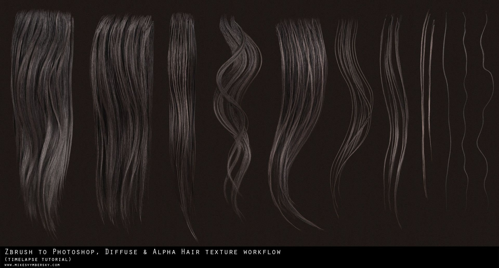 Artstation Hair Texture Diffuse Alpha Tutorial Mike Svymbersky Zbrush Hair Textured Hair Photoshop Hair
