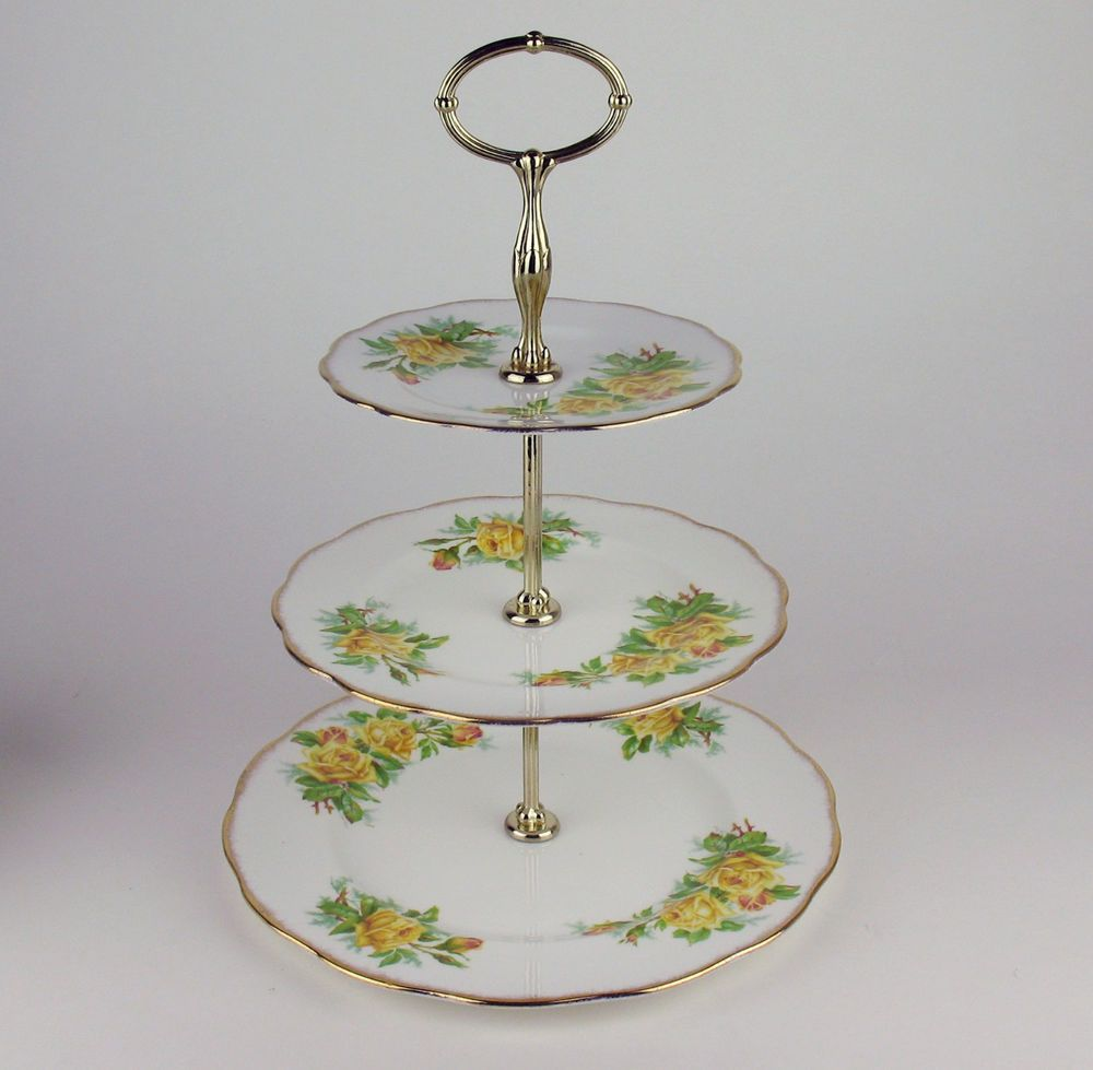 3 tier cake serving stand royal albert yellow tea rose