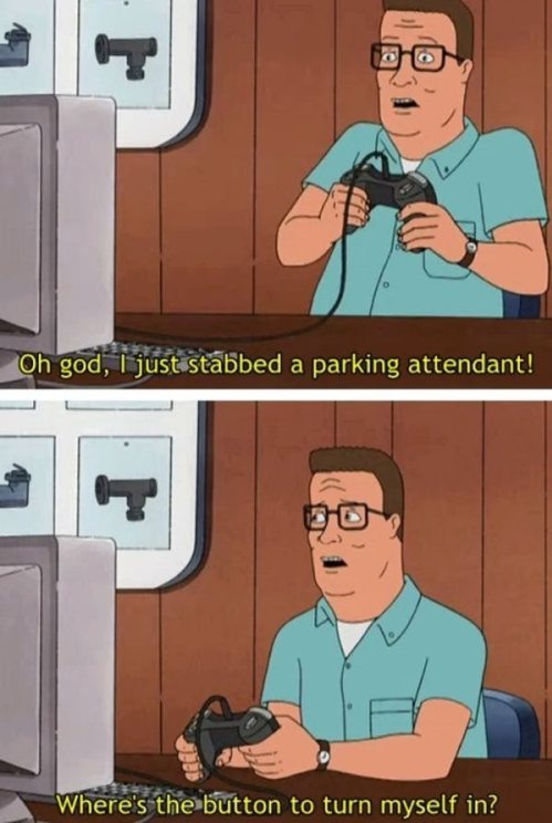 Hank Playing Video Games That Involves Stabbing People King Of The Hill Funny Games Grand Theft Auto