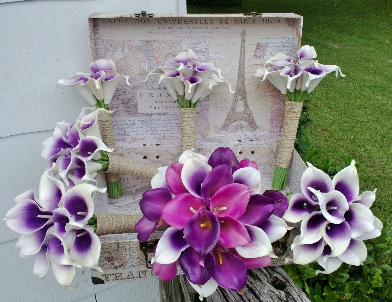 17 piece real touch purple white lavender calla lily bridal bouquet 17 piece real touch purple white lavender calla lily bridal bouquet wedding flower set purple izmirmasajfo Choice Image