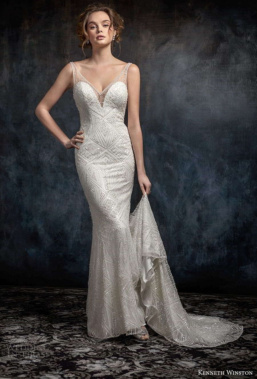 kenneth winston fall 2017 bridal sleeveless strap v neck