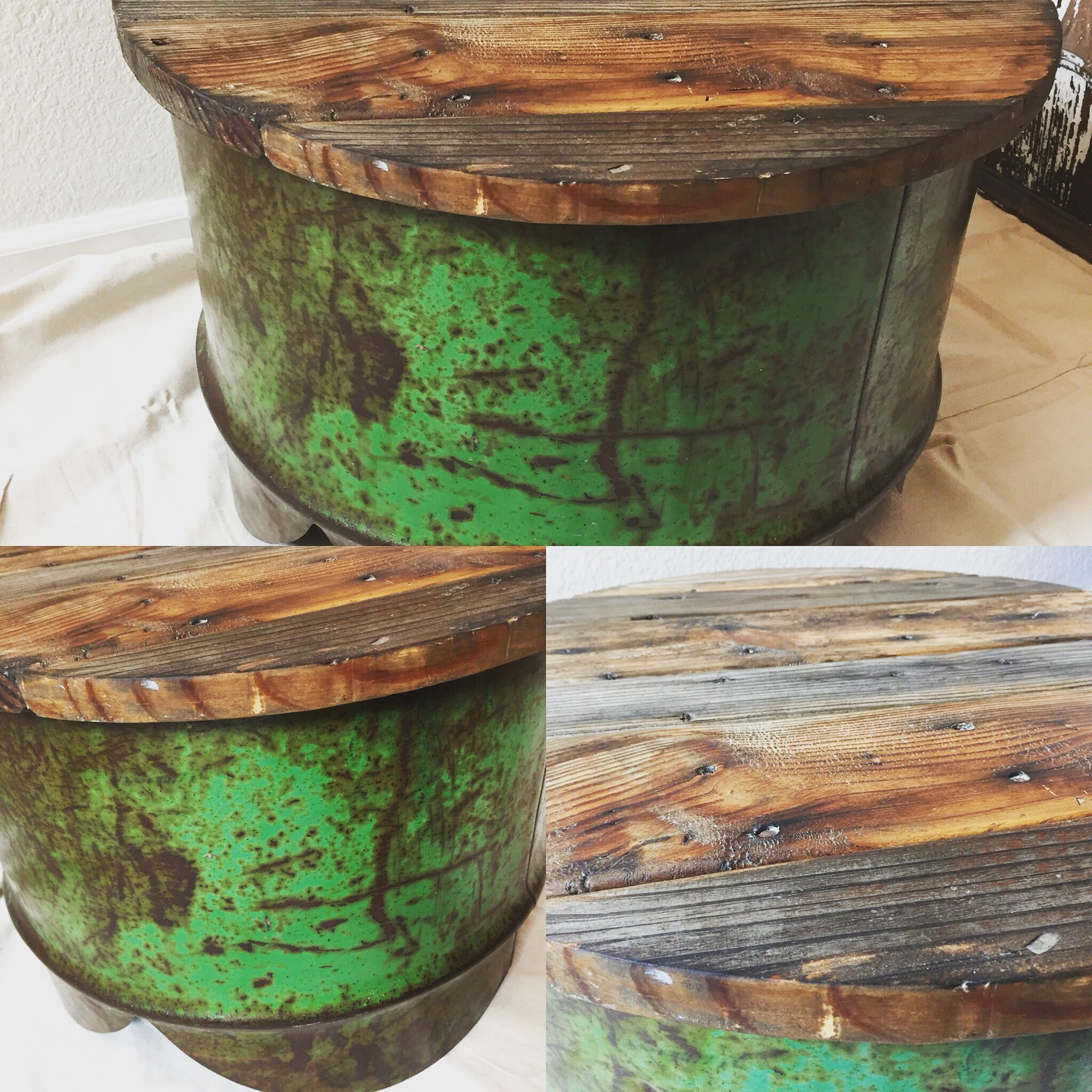 55 gallon steel drum coffee table end table with reclaimed wood