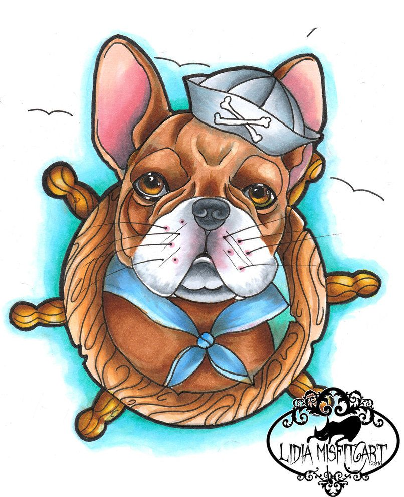 Neo Traditional French Bulldog Tattoo Flash By Missmisfit13