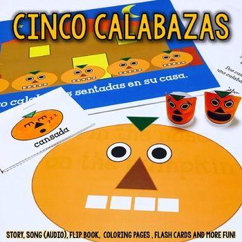 Halloween Activity Set - Cinco Calabazas {Mp3 included} SPANISH - halloween activities ideas